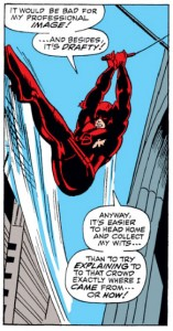 Matt swings away to change out of his costume, Daredevil #41