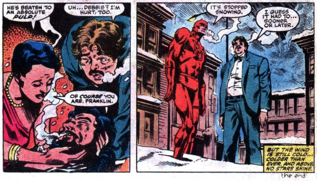 Daredevil #206 comes to and end, and it apparently stops snowing