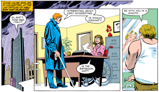 Matt shows up at his office, Daredevil #222, by Denny O'Neil and David Mazzucchelli