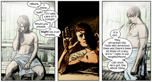 Foggy shows off his tattoo, from Daredevil #59 (vol 2) by Brian Bendis and Alex Maleev