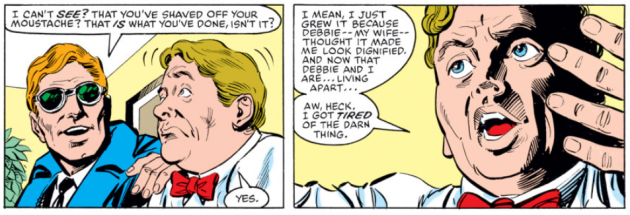 Foggy explains the loss of his mustache, Daredevil #222