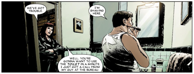 Foggy shaving, Daredevil #82 volume 2, by Ed Brubaker and Michael Lark