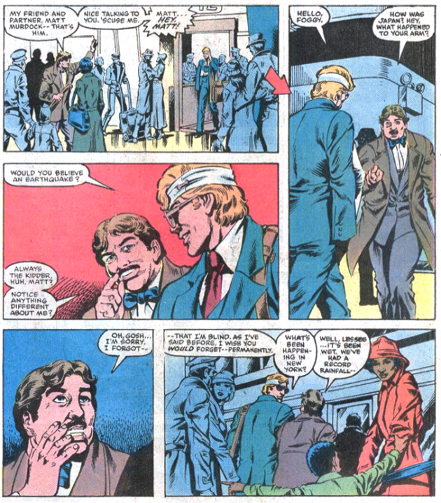 Foggy shows Matt his mustache in Daredevil #200, by Denny O'Neil and William Johnson