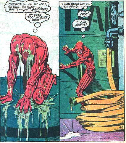 Matt climbs out of a chemical bath and realizes he can see.