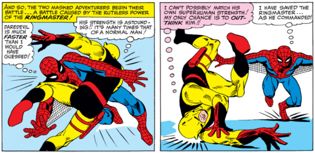 Daredevil tries to fend of the hypnotized Spider-Man