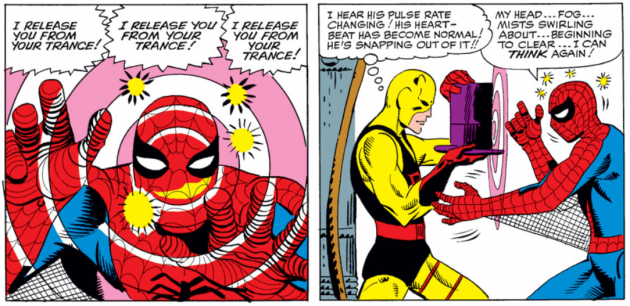 Daredevil uses the Ringmaster's hat to break Spider-Man's spell