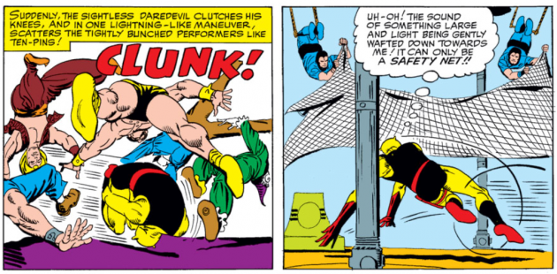 Daredevil becomes a human bowling ball