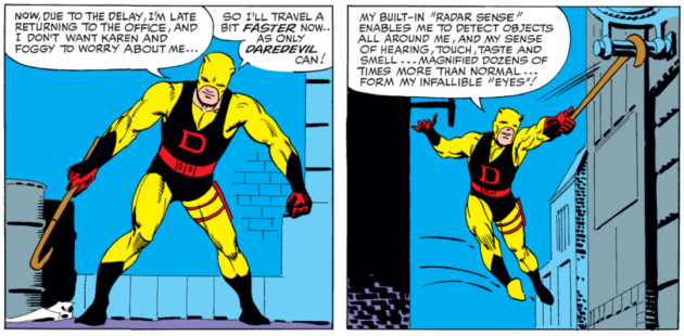 Matt sneaks off and changes to Daredevil