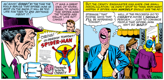 Peter sees a poster advertising his appearance at the circus