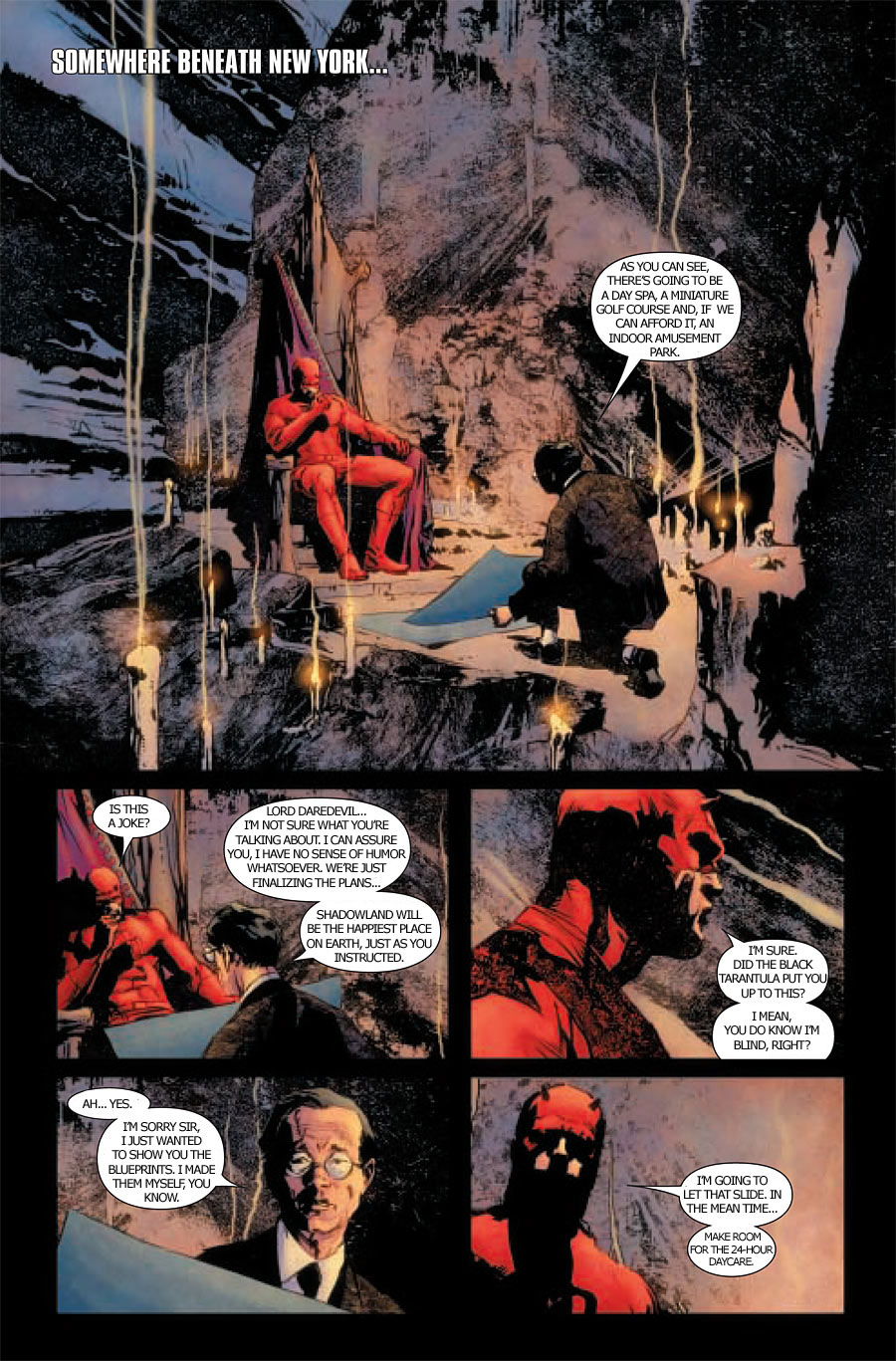 Parody version of a page from Daredevil #504 where Daredevils assumes he's being made fun of.