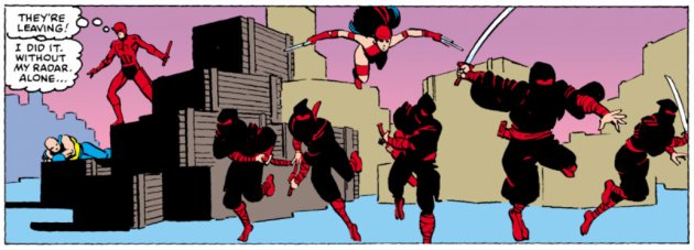 Elektra chases away the ninjas