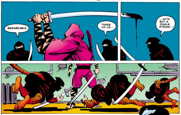 Kirigi kills three Hand ninjas with a single swing of his sword, Daredevil #175