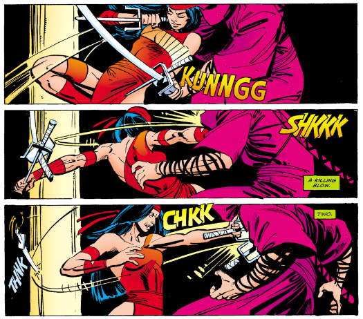 Kirigi and Elektra face off, round 1, from Daredevil #175