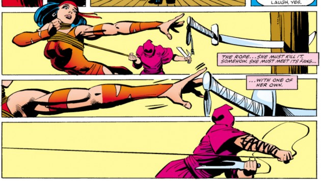 Kirigi has Elektra by the neck, Daredevil #175