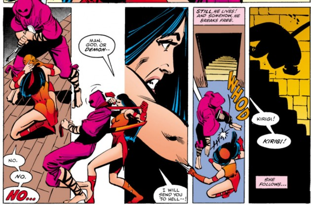 Elektra sends Kirigi rolling down the stairs, Daredevil #175