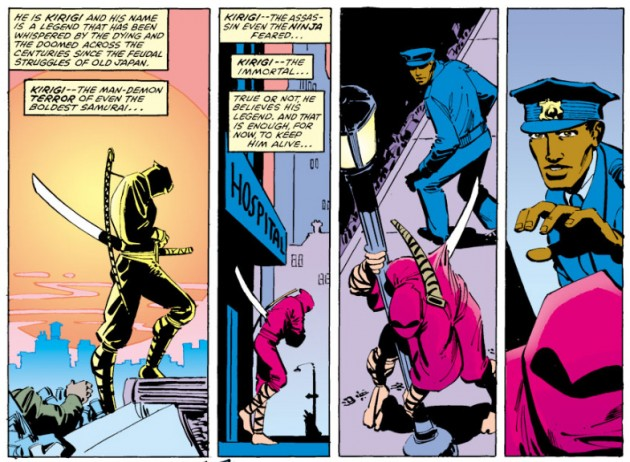 Kirigi is still alive, even with a sword through his body, from Daredevil #176