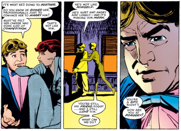 Foggy and Natasha conspire to break up Matt&#039;s engagement, Daredevil #189