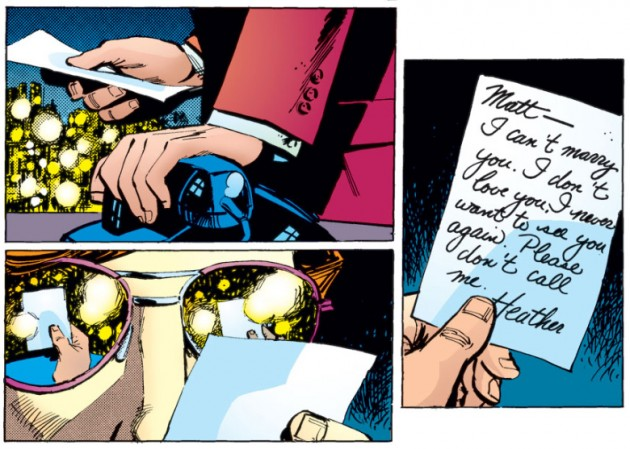 Matt finds a note he believes is from Heather, Daredevil #189