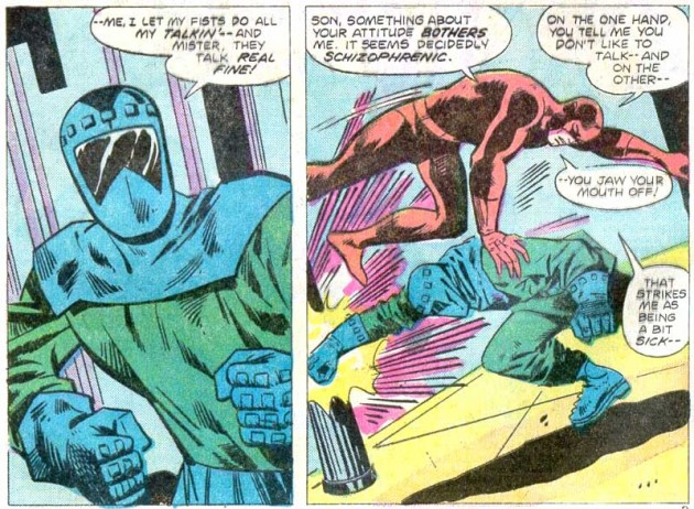 Daredevil beating up bank robbers in Daredevil #118, volume 1