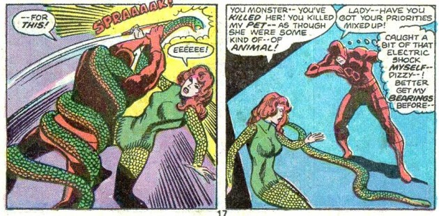 Daredevil kills Princess Python's snake