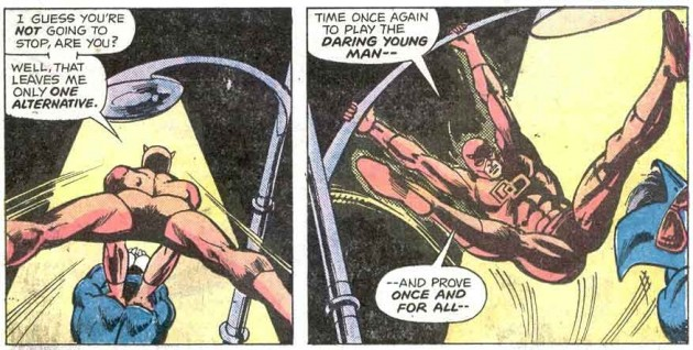 Daredevil shows his crotch from two angles against the Torpedo, Daredevil #126