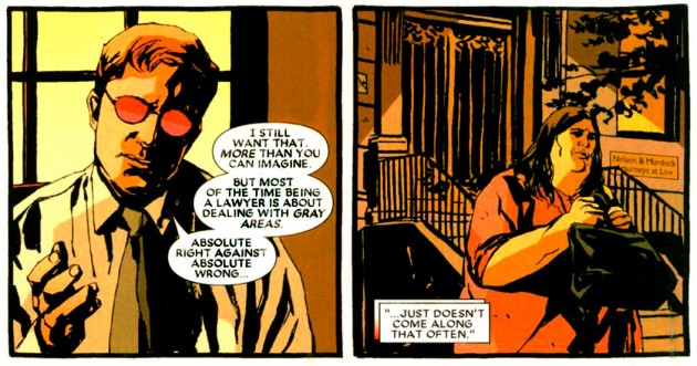 Scene from Daredevil Redemption #1, Joel Flood's mother seeks out Matt Murdock