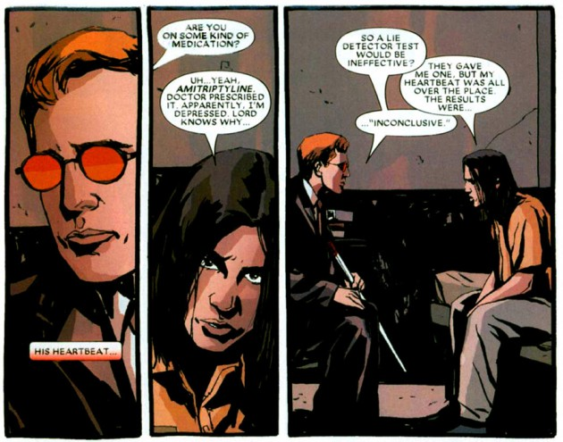 Matt has his first meeting with the accused, Joel Flood. Scene from Daredevil Redemption #1