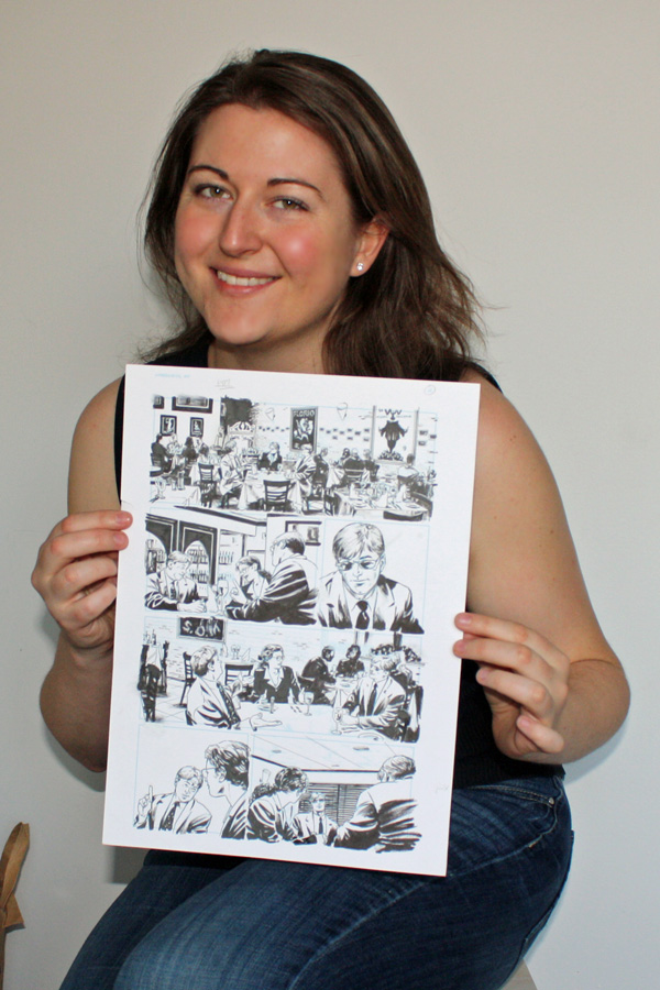 Photograph of me holding a page of original art from Daredevil #93