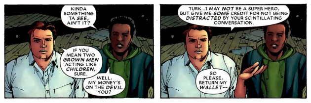 Foggy and Turk talk, panels from Daredevil: Cage Match