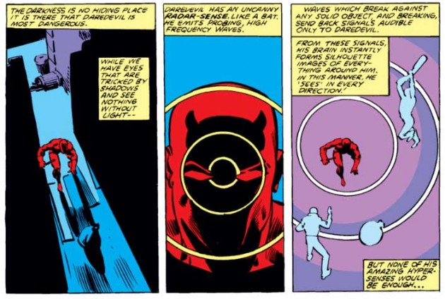 Daredevil's radar as sonar, from Daredevil #167