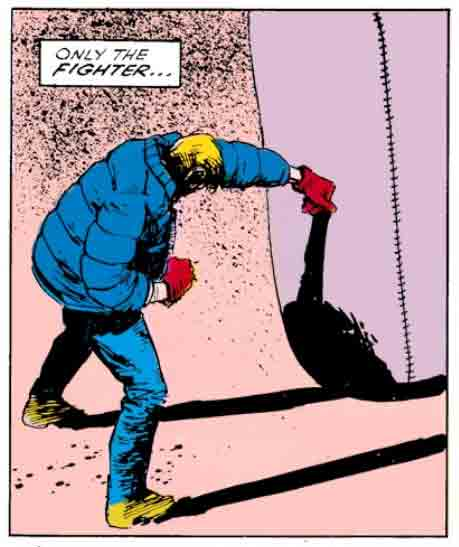 Matt sports a hideous winter coat, Daredevil #229 by Frank Miller and David Mazzucchelli