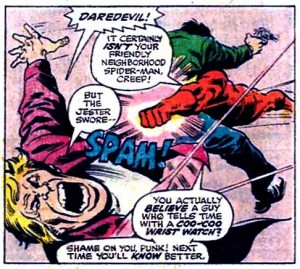 Conjoined triplets, panel from Daredevil #136