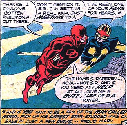 Nova meets Daredevil, from Daredevil #142