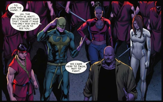 Matt friends intervene, Shadowland #2 by Andy Diggle and Billy Tan