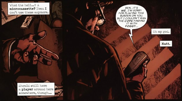 Panel from Shadowland: After the Fall featuring Ben Urich finding Matt's tape
