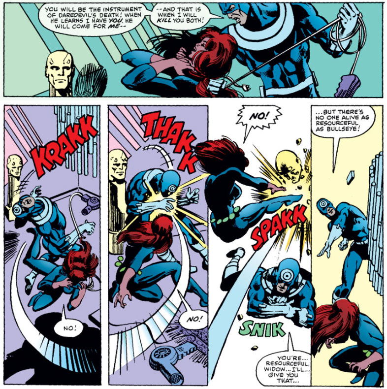 Black Widow fights Bullseye in her apartment, from Daredevil (vol 1) #160