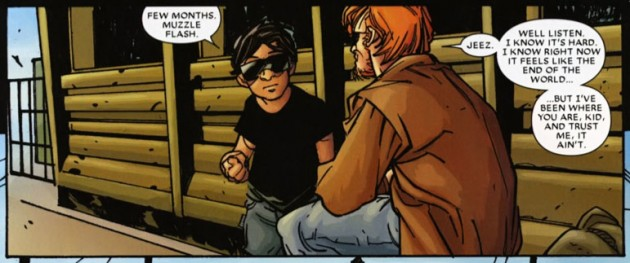 Matt talks to a young blind boy, panel from Daredevil: Reborn #1
