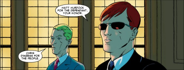 Matt Murdock defends Spider-Man in Amazing Spider-Man Extra (2008), art by Marcos Martin