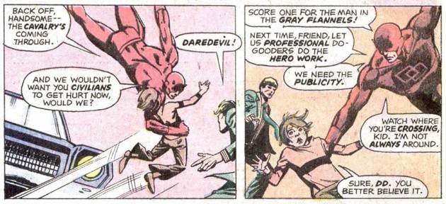Daredevil points out the color of someone's clothing, Daredevil #126