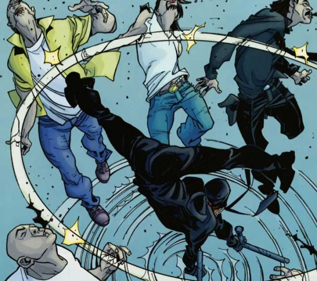 Matt fighting with some bad guys, Daredevil: Reborn #4 by Andy Diggle and Davide Gianfelice