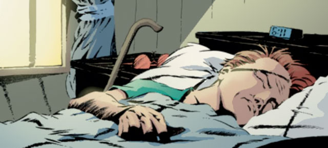 Matt sleeping, image from Spider-Man/Daredevil (2002), by Brett Mathews and Vatche Mavlian