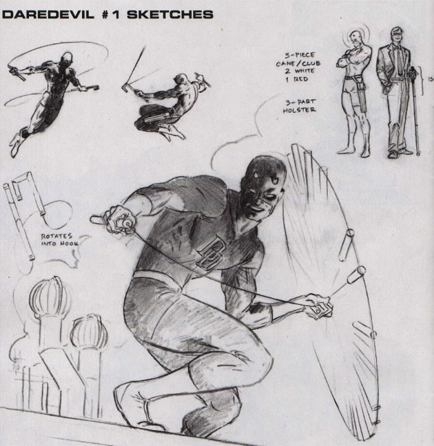 New billy club sketches by Paolo Rivera, as seen in Marvel Previews #93