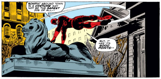 Daredevil jumps over a statue in Daredevil #26, by Stan Lee with art by Gene Colan