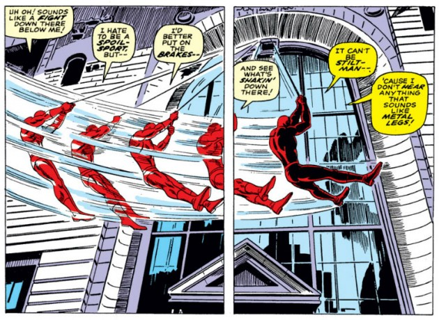 Daredevil swings by a window, from Daredevil #27 by Stan Lee and Gene Colan