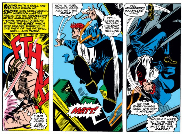 Matt changes clothes in mid-air, from Daredevil #27 by Stan Lee and Gene Colan
