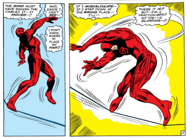 A radarless Daredevil walks a tightrope over the city, from Daredevil #31 by Stan Lee and Gene Colan