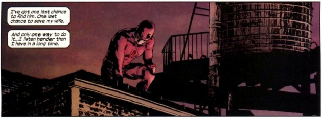 Daredevil listens from a roof top, Daredevil #105 (volume 2), by Ed Brubaker and Michael Lark