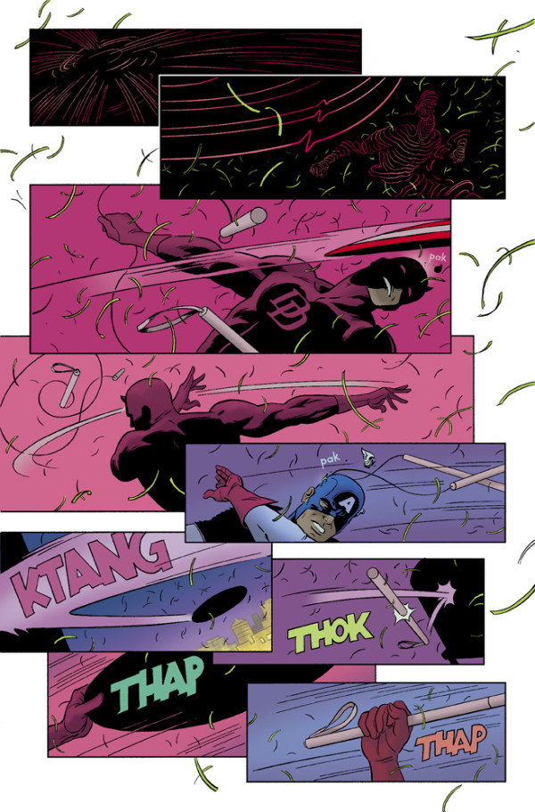 Second page showing Daredevil fighting Captain America