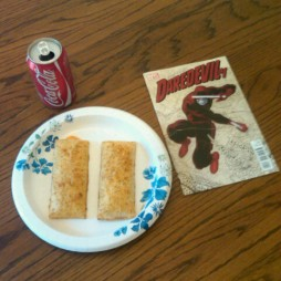 @Aron_w had his Daredevil with hot pockets and a Coke