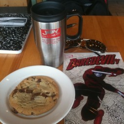 Twitter user @Avengerfiles had his Daredevil with coffee and a cookie